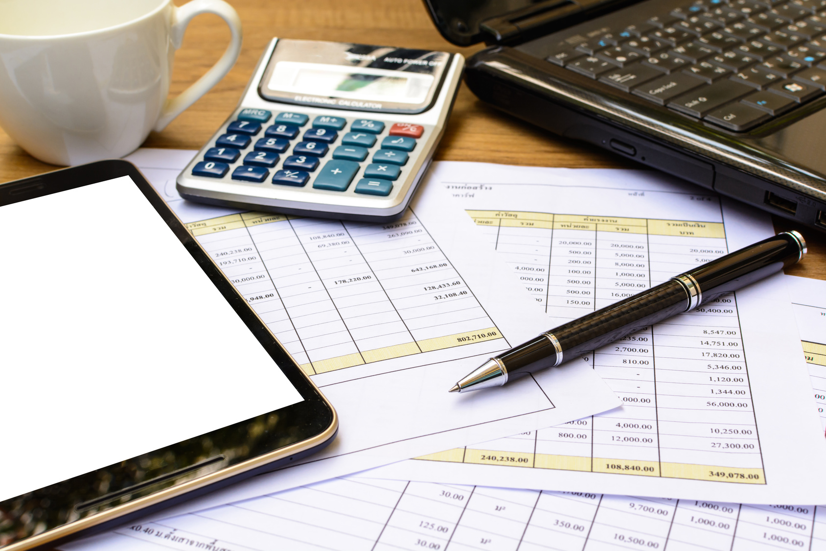 Desk office business financial accounting calculate